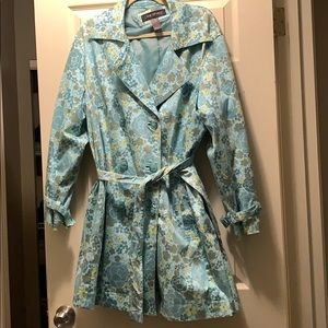 Lane Bryant mint floral mid length trench coat